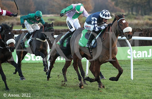 Irving winning the Grade 1 Fighting Fifth Hurdle under Harry Cobden at Newcastle - 26 November 2016