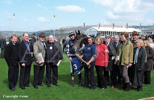 Owners with Ouzbeck after his win at Cheltenham